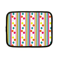 Stripes And Polka Dots Colorful Pattern Wallpaper Background Netbook Case (small)  by Nexatart