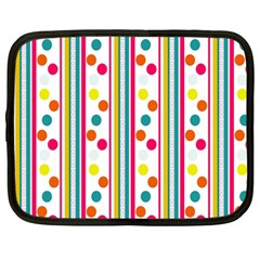 Stripes And Polka Dots Colorful Pattern Wallpaper Background Netbook Case (large) by Nexatart