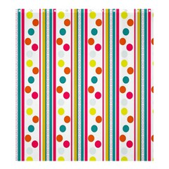 Stripes And Polka Dots Colorful Pattern Wallpaper Background Shower Curtain 66  X 72  (large)  by Nexatart