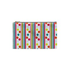 Stripes And Polka Dots Colorful Pattern Wallpaper Background Cosmetic Bag (small)