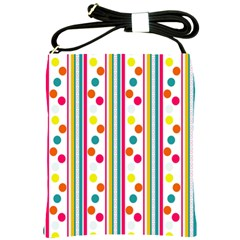 Stripes And Polka Dots Colorful Pattern Wallpaper Background Shoulder Sling Bags by Nexatart