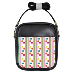 Stripes And Polka Dots Colorful Pattern Wallpaper Background Girls Sling Bags by Nexatart