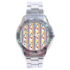 Stripes And Polka Dots Colorful Pattern Wallpaper Background Stainless Steel Analogue Watch by Nexatart