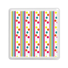 Stripes And Polka Dots Colorful Pattern Wallpaper Background Memory Card Reader (square)  by Nexatart