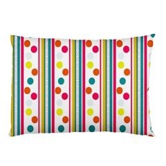 Stripes And Polka Dots Colorful Pattern Wallpaper Background Pillow Case (two Sides) by Nexatart