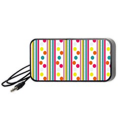 Stripes And Polka Dots Colorful Pattern Wallpaper Background Portable Speaker (black) by Nexatart