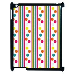 Stripes And Polka Dots Colorful Pattern Wallpaper Background Apple Ipad 2 Case (black) by Nexatart