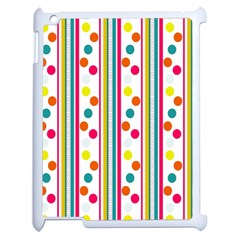 Stripes And Polka Dots Colorful Pattern Wallpaper Background Apple Ipad 2 Case (white) by Nexatart