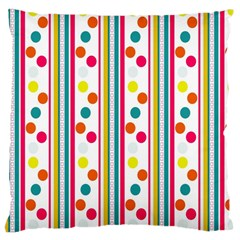 Stripes And Polka Dots Colorful Pattern Wallpaper Background Large Cushion Case (two Sides)
