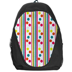 Stripes And Polka Dots Colorful Pattern Wallpaper Background Backpack Bag by Nexatart