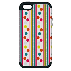 Stripes And Polka Dots Colorful Pattern Wallpaper Background Apple Iphone 5 Hardshell Case (pc+silicone) by Nexatart
