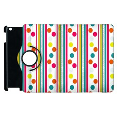 Stripes And Polka Dots Colorful Pattern Wallpaper Background Apple Ipad 3/4 Flip 360 Case by Nexatart
