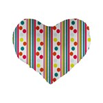 Stripes And Polka Dots Colorful Pattern Wallpaper Background Standard 16  Premium Heart Shape Cushions Back