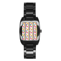 Stripes And Polka Dots Colorful Pattern Wallpaper Background Stainless Steel Barrel Watch by Nexatart