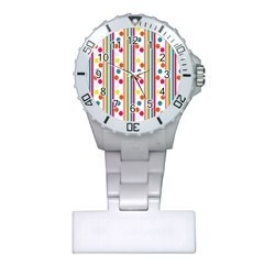 Stripes And Polka Dots Colorful Pattern Wallpaper Background Plastic Nurses Watch by Nexatart