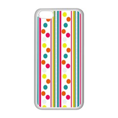 Stripes And Polka Dots Colorful Pattern Wallpaper Background Apple Iphone 5c Seamless Case (white) by Nexatart