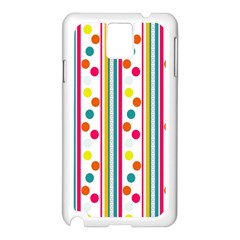 Stripes And Polka Dots Colorful Pattern Wallpaper Background Samsung Galaxy Note 3 N9005 Case (white) by Nexatart