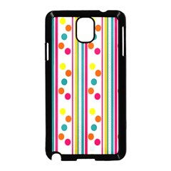 Stripes And Polka Dots Colorful Pattern Wallpaper Background Samsung Galaxy Note 3 Neo Hardshell Case (black) by Nexatart