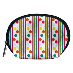 Stripes And Polka Dots Colorful Pattern Wallpaper Background Accessory Pouches (medium)
