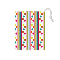 Stripes And Polka Dots Colorful Pattern Wallpaper Background Drawstring Pouches (medium)  by Nexatart