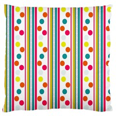 Stripes And Polka Dots Colorful Pattern Wallpaper Background Large Flano Cushion Case (one Side) by Nexatart