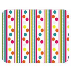 Stripes And Polka Dots Colorful Pattern Wallpaper Background Double Sided Flano Blanket (medium)  by Nexatart