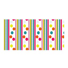 Stripes And Polka Dots Colorful Pattern Wallpaper Background Satin Wrap by Nexatart