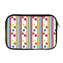 Stripes And Polka Dots Colorful Pattern Wallpaper Background Apple Macbook Pro 17  Zipper Case by Nexatart