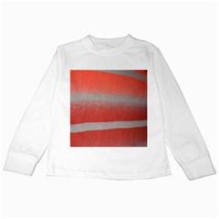 Orange Stripes Colorful Background Textile Cotton Cloth Pattern Stripes Colorful Orange Neo Kids Long Sleeve T Shirts by Nexatart