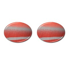 Orange Stripes Colorful Background Textile Cotton Cloth Pattern Stripes Colorful Orange Neo Cufflinks (oval) by Nexatart