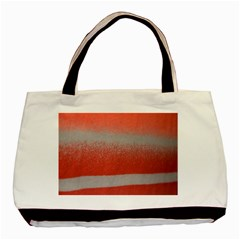 Orange Stripes Colorful Background Textile Cotton Cloth Pattern Stripes Colorful Orange Neo Basic Tote Bag by Nexatart