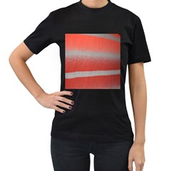 Orange Stripes Colorful Background Textile Cotton Cloth Pattern Stripes Colorful Orange Neo Women s T Shirt (black) by Nexatart