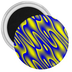 Blue Yellow Wave Abstract Background 3  Magnets by Nexatart