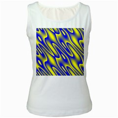 Blue Yellow Wave Abstract Background Women s White Tank Top by Nexatart