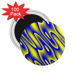 Blue Yellow Wave Abstract Background 2 25  Magnets (100 Pack)