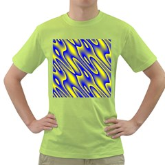 Blue Yellow Wave Abstract Background Green T Shirt by Nexatart