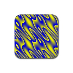 Blue Yellow Wave Abstract Background Rubber Square Coaster (4 Pack)  by Nexatart