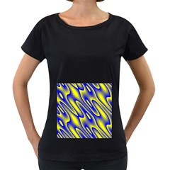 Blue Yellow Wave Abstract Background Women s Loose Fit T Shirt (black)