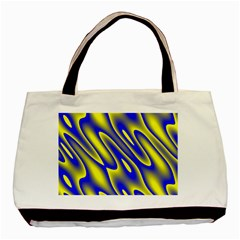 Blue Yellow Wave Abstract Background Basic Tote Bag