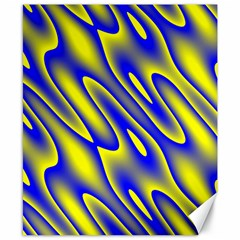 Blue Yellow Wave Abstract Background Canvas 8  X 10