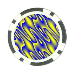 Blue Yellow Wave Abstract Background Poker Chip Card Guard (10 Pack) by Nexatart