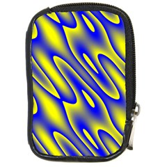 Blue Yellow Wave Abstract Background Compact Camera Cases by Nexatart