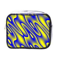 Blue Yellow Wave Abstract Background Mini Toiletries Bags by Nexatart