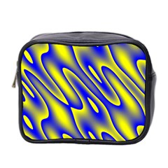 Blue Yellow Wave Abstract Background Mini Toiletries Bag 2 Side