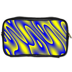 Blue Yellow Wave Abstract Background Toiletries Bags 2 Side by Nexatart