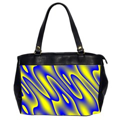 Blue Yellow Wave Abstract Background Office Handbags (2 Sides)  by Nexatart