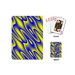 Blue Yellow Wave Abstract Background Playing Cards (mini)  by Nexatart