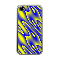 Blue Yellow Wave Abstract Background Apple Iphone 4 Case (clear)