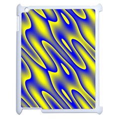 Blue Yellow Wave Abstract Background Apple Ipad 2 Case (white) by Nexatart