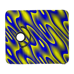 Blue Yellow Wave Abstract Background Galaxy S3 (flip/folio) by Nexatart